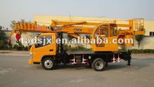8 ton small single/dual winch hydraulic wheel tyre truck crane with aerial work platform