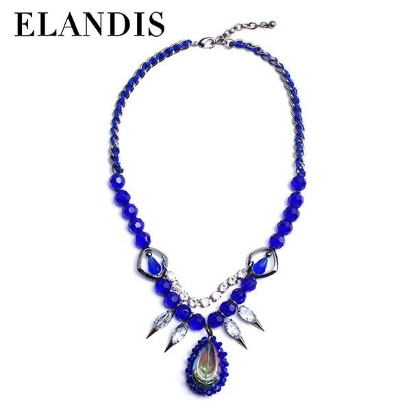 E-ELANDIS blue glass stone chain spike necklace