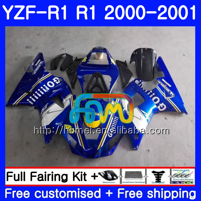 Body For YAMAHA Blue GO!!!! YZF R 1 YZF 1000 YZF-<strong>R1</strong> 00-01 Bodywork 98HM16 YZF1000 YZF-1000 YZF <strong>R1</strong> 00 01 YZFR1 2000 <strong>2001</strong> Fairing