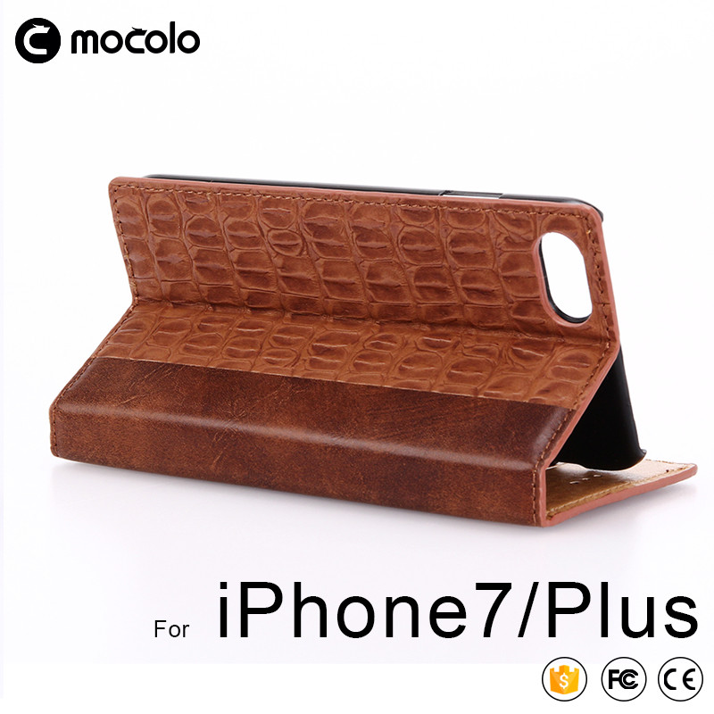2017 Top quality Mocolo crocodile Stripe leathe Cover Case with Retail Packaging for iPhone 7/7s/7 plus leather Cover