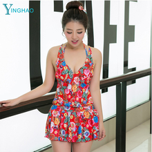 Wholesale new hot springs conjoined skirt type angle swimsuit female to increase the code to keep the thin Shantai swimwear