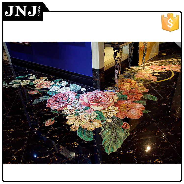 Marble Mix Glass Wall Mural And Entrance Floor Medallion Design