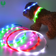 LED USB Rechargeable Dog Shock Collar, USB Rechargeable LED Flashing Dog Collar For Christmas