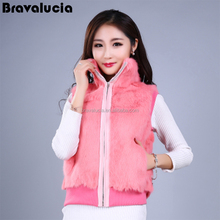 Rabbit Fur Hand Knitted Vest Peaked New Hand Style Fashion Women Gilet