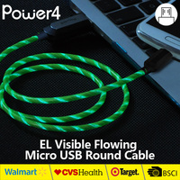 MFI approved EL USB sync data cable with visible flowing light el luminescent wire el lighted up usb charger cable in China