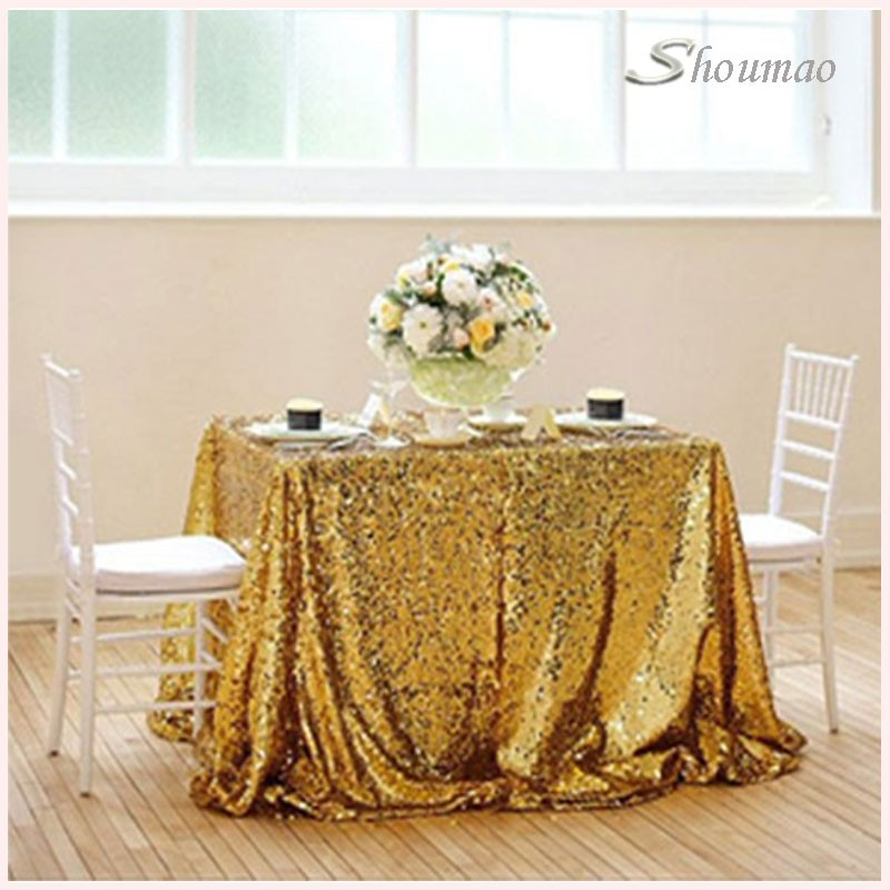 wholesale wedding gola champagne made in China embroidered 132' round luxury sequin table cloth for hotel