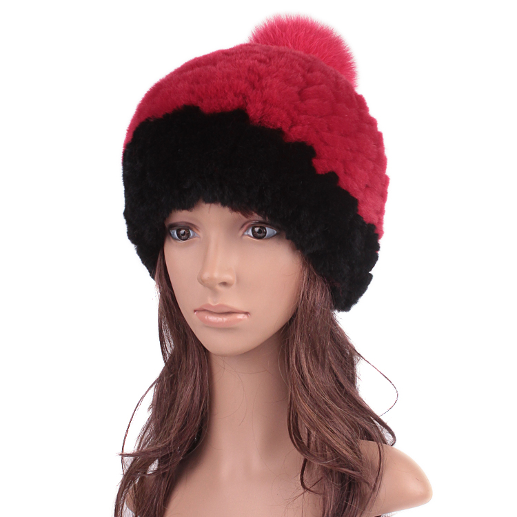 In 2015 the new rabbit fur hat children super thick warm winter fox fur ball cap hat helmet