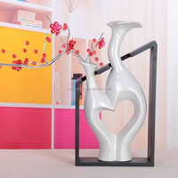 Modern home arts ceramic glazed flower receptacle vase with Double mouth and wodden