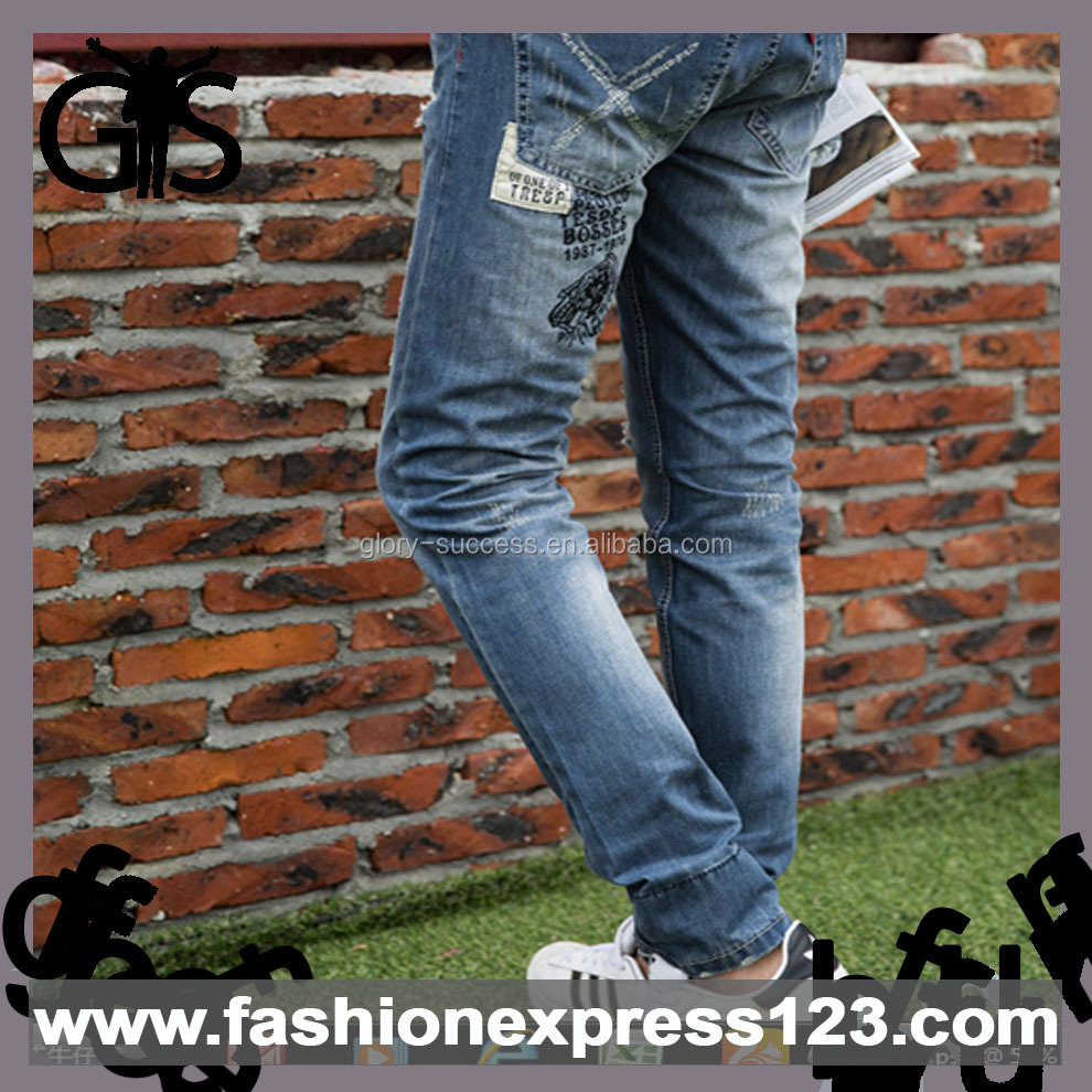 New Style Straight Top Line Mid Waist Cotton Denim Jeans Men