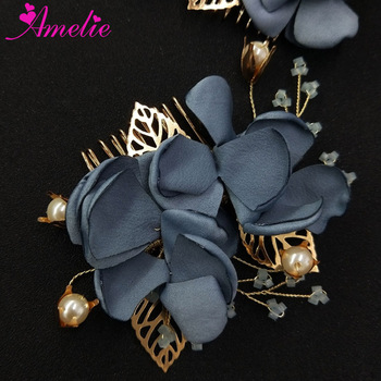 Crystal Hair Jewelry Blue Flower Wedding Hair Pins Bride Hairwear Women Headpiece Dress Accessories Hair Comb