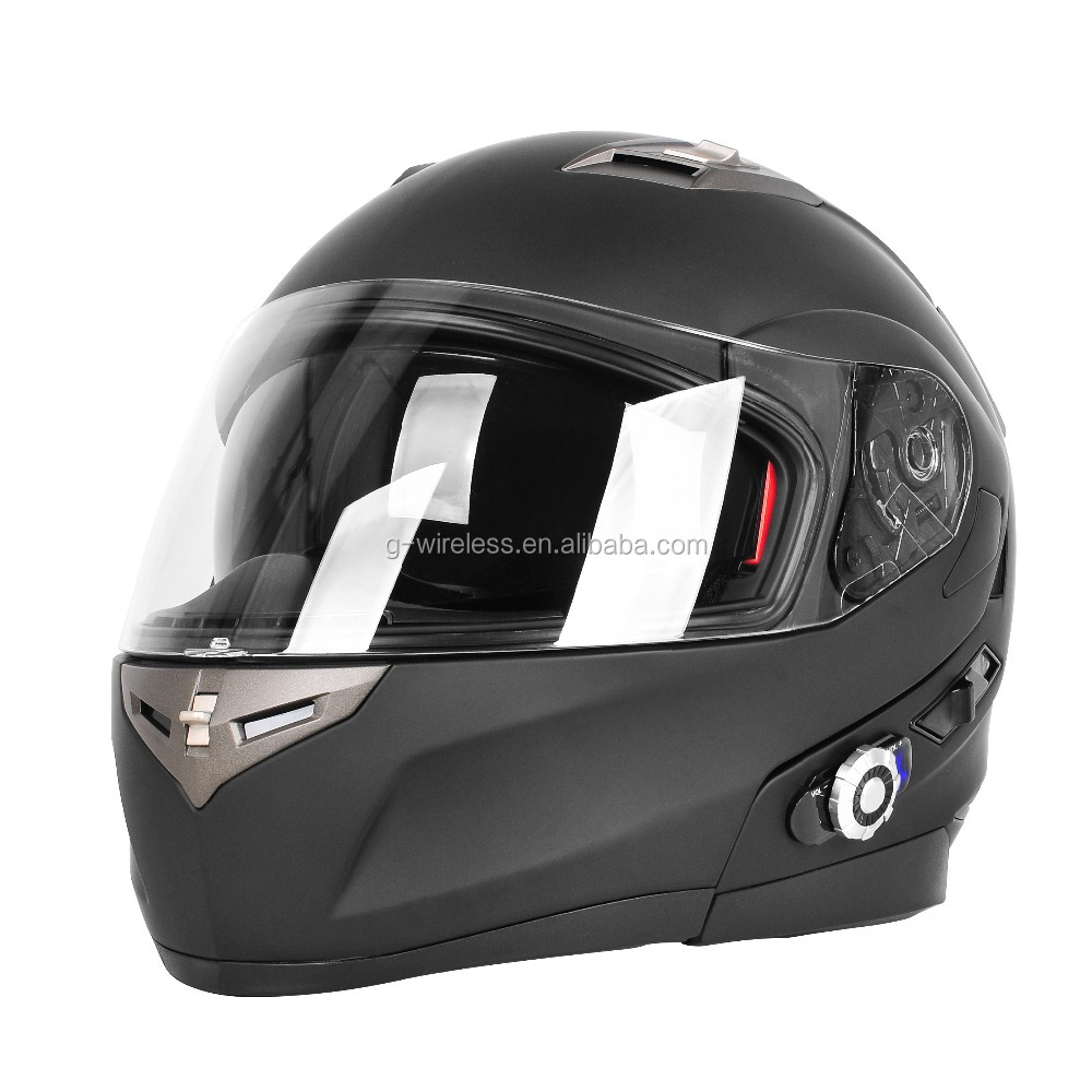 Dual Visors Full Face Helmet with BM2-S 300m Motorbike Bluetooth Helmet
