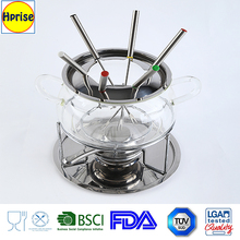 Wholesales fruit fondue stainless steel and Pyrex glass cheese fondue set