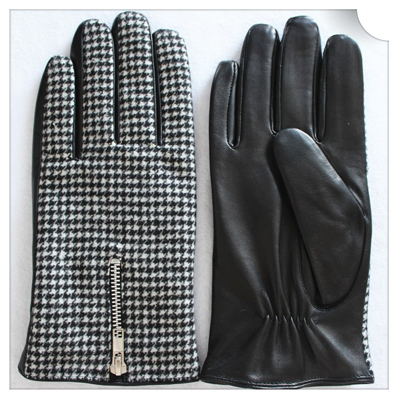 Houndstooth mens leather gloves with zipper