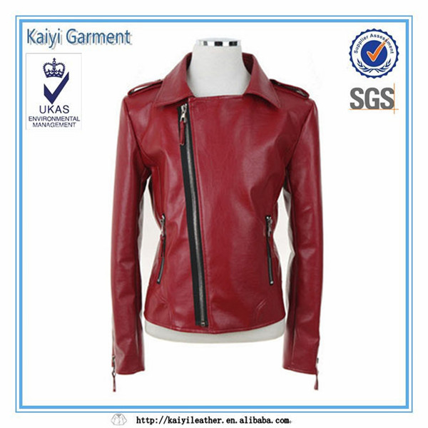 China supplier short windbreak motorcycle women red jacket leather
