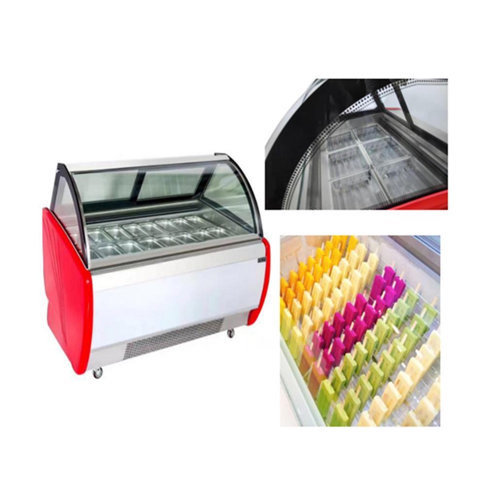 Manufacturer cheaper price ice cream show <strong>case</strong> freezer display with high efficiency