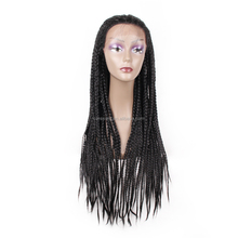 "26"" micro braided wigs crochet, lace front wigs braided wigs for black women"