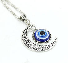 Crescent Moon Pendant Blue Eyes Necklace Evil Eye Glass Art Picture Triple Goddess