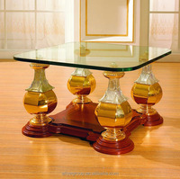 Luxury tempered baroque style coffee table, Gold vase shape legs coffee table MBK-127