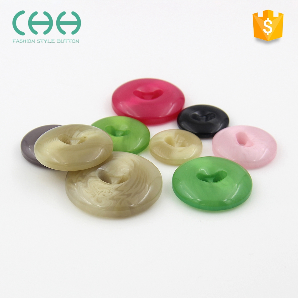 Fashion simple design smooth 2-holes resin button for coat