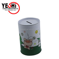 nice personalized round coin bank tin boxes for money saved