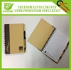 Promotional advertising customized spiral eco notebook with pen attached