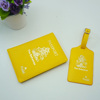 fashion yellow faux leather personalized passport holder