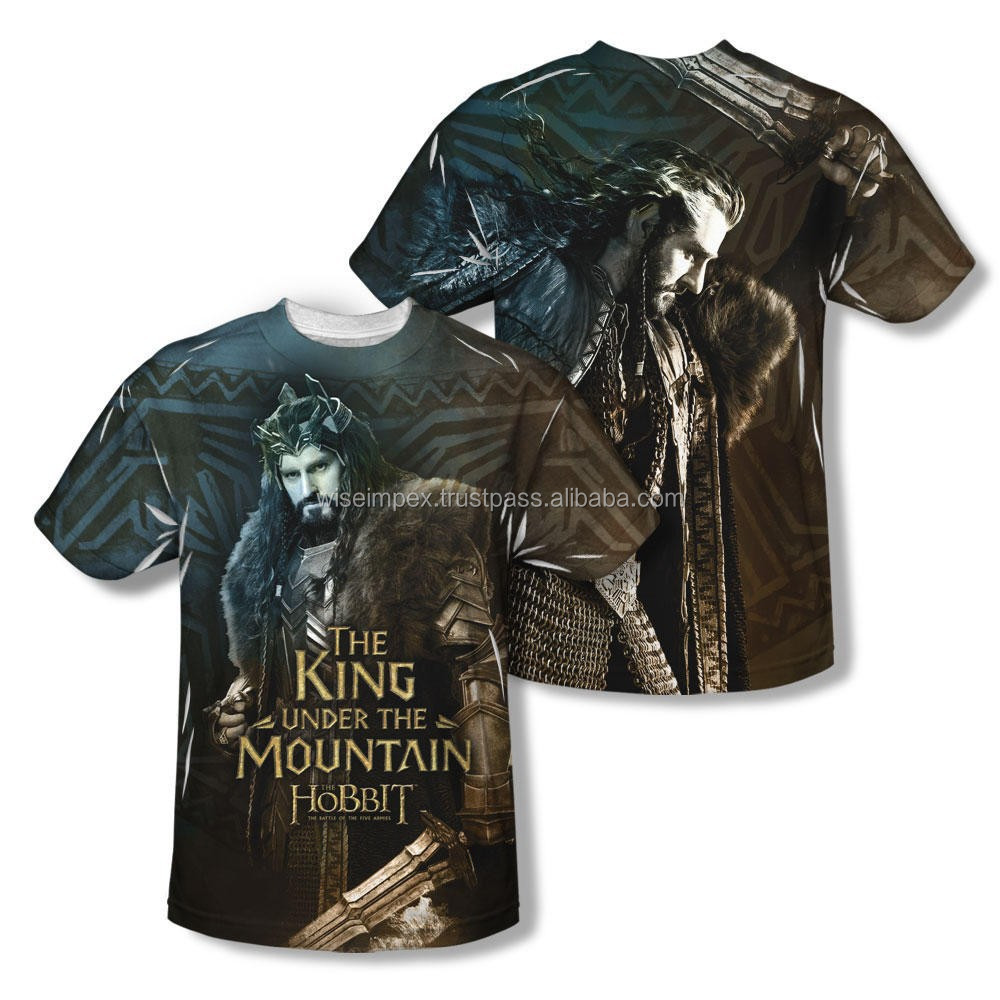 HOBBITs the king full Sublimated Cotton T Shirt , available customization WISE IMPEX