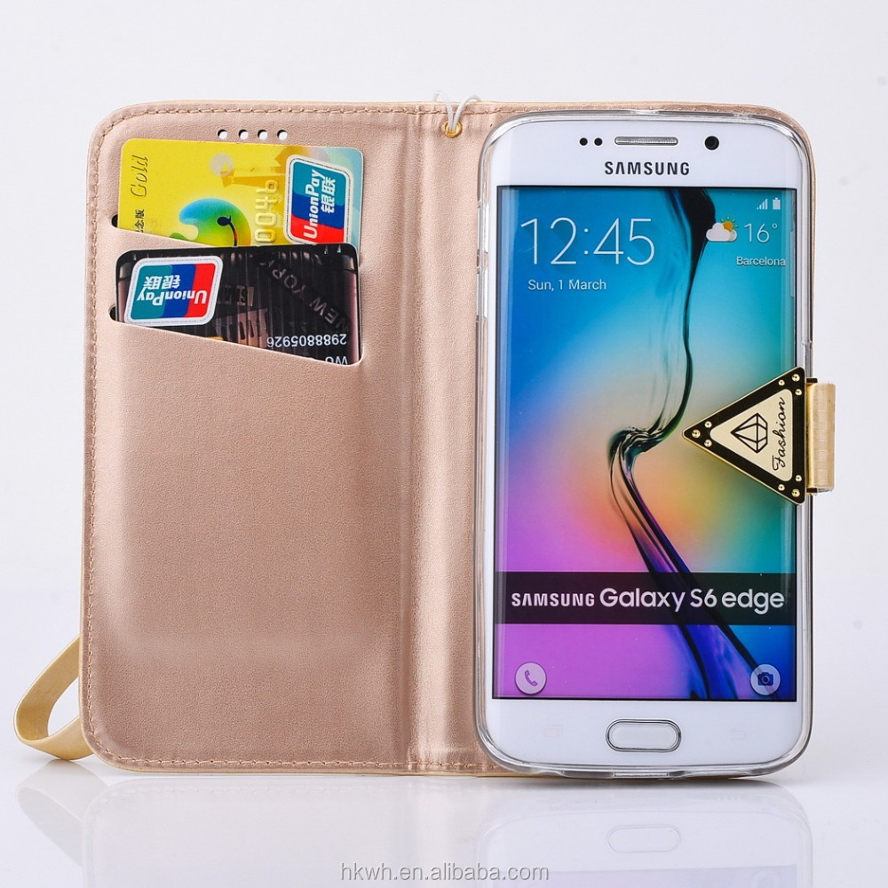 Ladies stand handle Pu Leather case for samsung galaxy S6 case