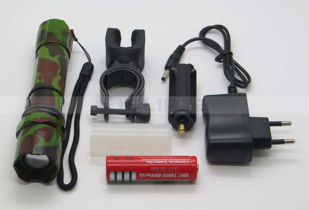 Outdoor Waterproof Zoom Torch Camouflage Flashlight