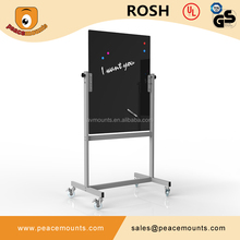 GB-03 Freestanding magnetic wipe good writing dry erase mobile glass board with frame