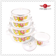 Chinese Delicate White Enamel Decal Cookware Pot Set 5 Pcs Belly Shaped Pot Set Cookware