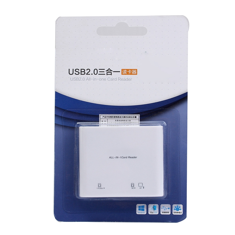 New Design Card Reader 3 In 1 USB2.0 SD TF Memory Card Reader High Speed Memory Card Reader Adapter For MAC PC