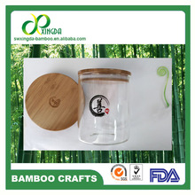SGS,FDA,LFGB Bamboo lids for glass jars with logo OEM