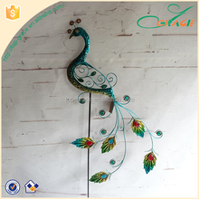 Home wall crafts decorative stake metal peacock garden decoration