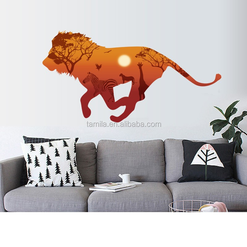 Fashion Lion Design Eco-Friendly PVC Waterproof Kids Bedroom Art Decor Reusable 3d Wall Stickers
