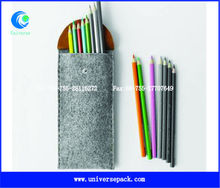 Custom felt pen bag with pu flap for wholesale