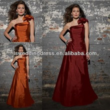 HB2062 Cheap sleeveless gathered silk taffeta A-line floor length long flower strap one shoulder bridesmaid dress