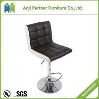 (Bali) Modern PU leather bar chair with chrome metal base and footrest
