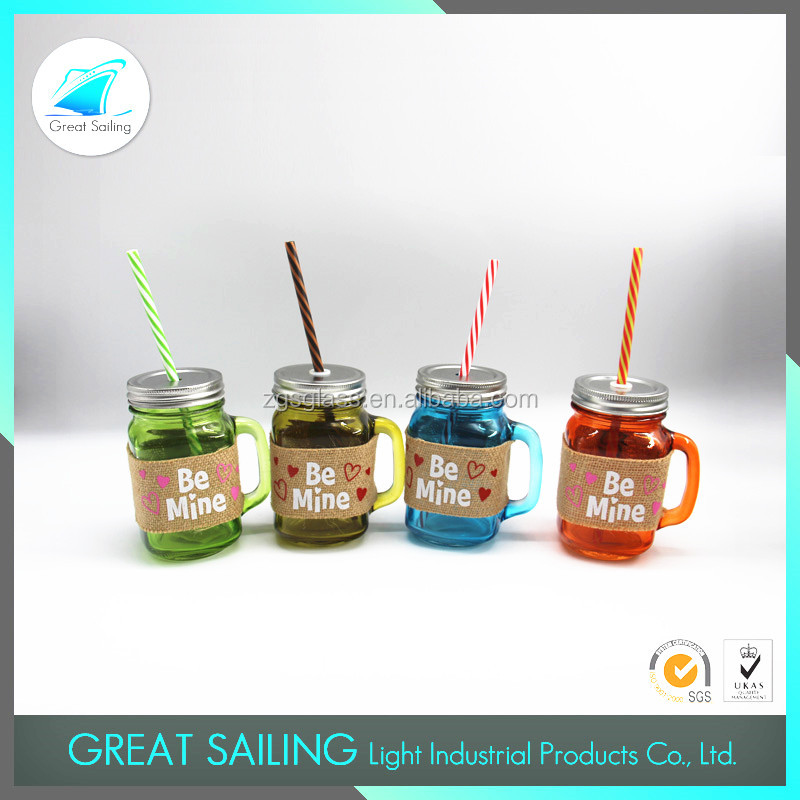 14oz glass jar with tinplate lid and straw