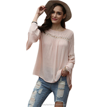 Bell Sleeve Round Neck Shirts Casual Tops Women Sexy Brand Fashion Beach Wear Summer Clothing Ladies Loose Eyelet Blouse B005