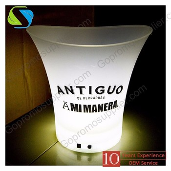 2017 New Eco-friendly Custom Wine Beer Bucket Rechargeable Led plastic champagne Ice Bucket Best Price