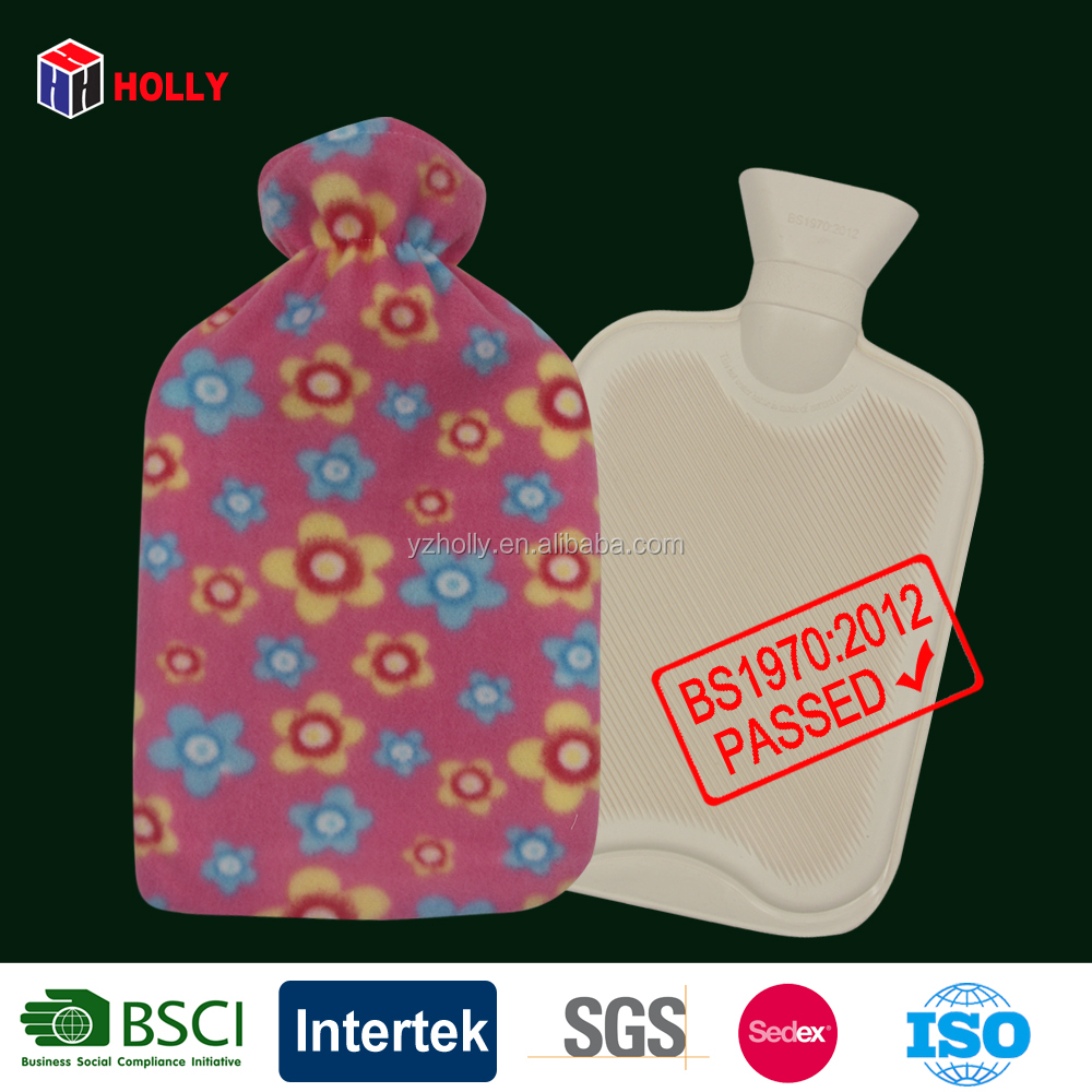 2l rubber hot water bottle with pink bloom fleece cover