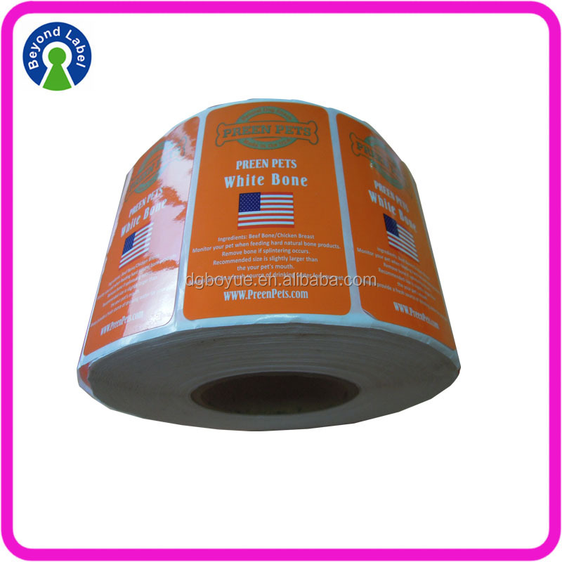 Private Printed Preen Pet Food packing adhesive stickers roll label