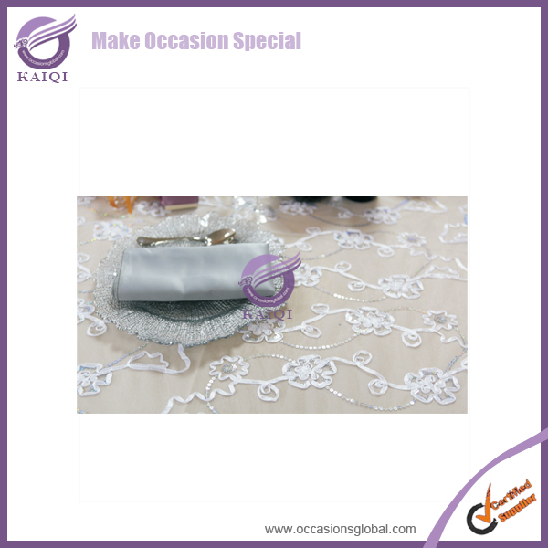 18296 wedding round white fancy sequin tablecloth