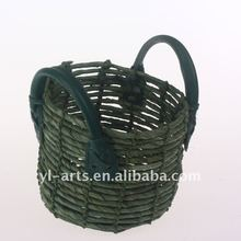 colored paper weave food basket with handle