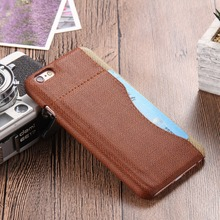 S Line Canvas Skin PU Leather Fiber Case For Iphone 6 6S Card Holder Leather Case