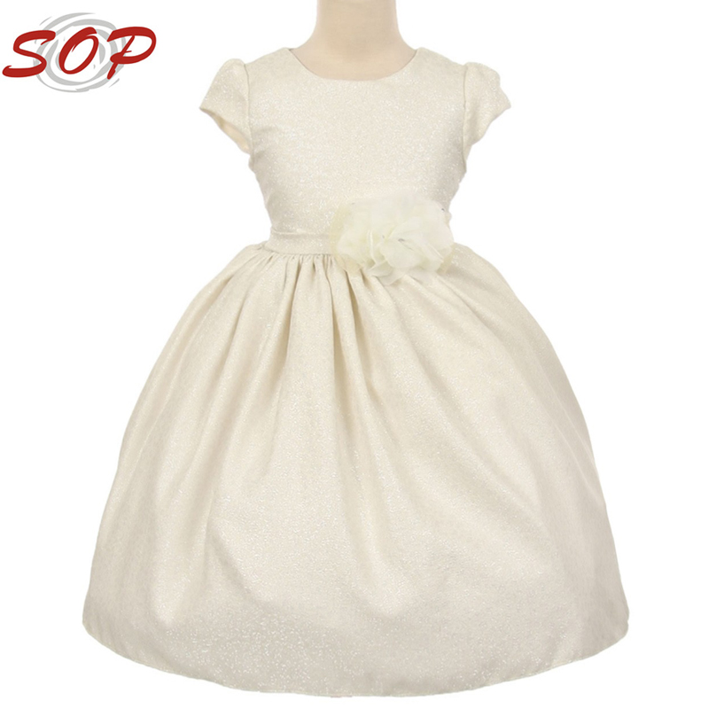 Ivory Cap Sleeved Jacquard Floral Print Kids Frock Design For Cutting