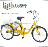 electric tricycle for adults tricycle for 2 adult GW7001-6SP 24 inch adult big wheel tricycle in bicycles for shopping