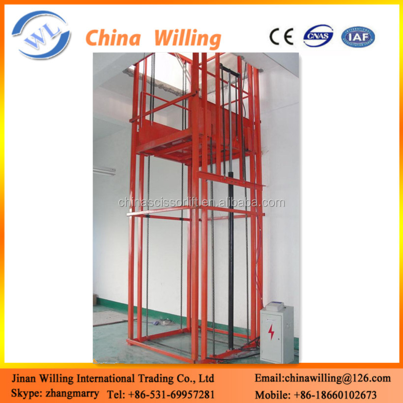 Electric Hydraulic Warehouse Elevator Enclosed Pole Lift Platform