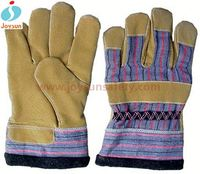 Good!Safety glove yellow leather winter hunting shooting gloves